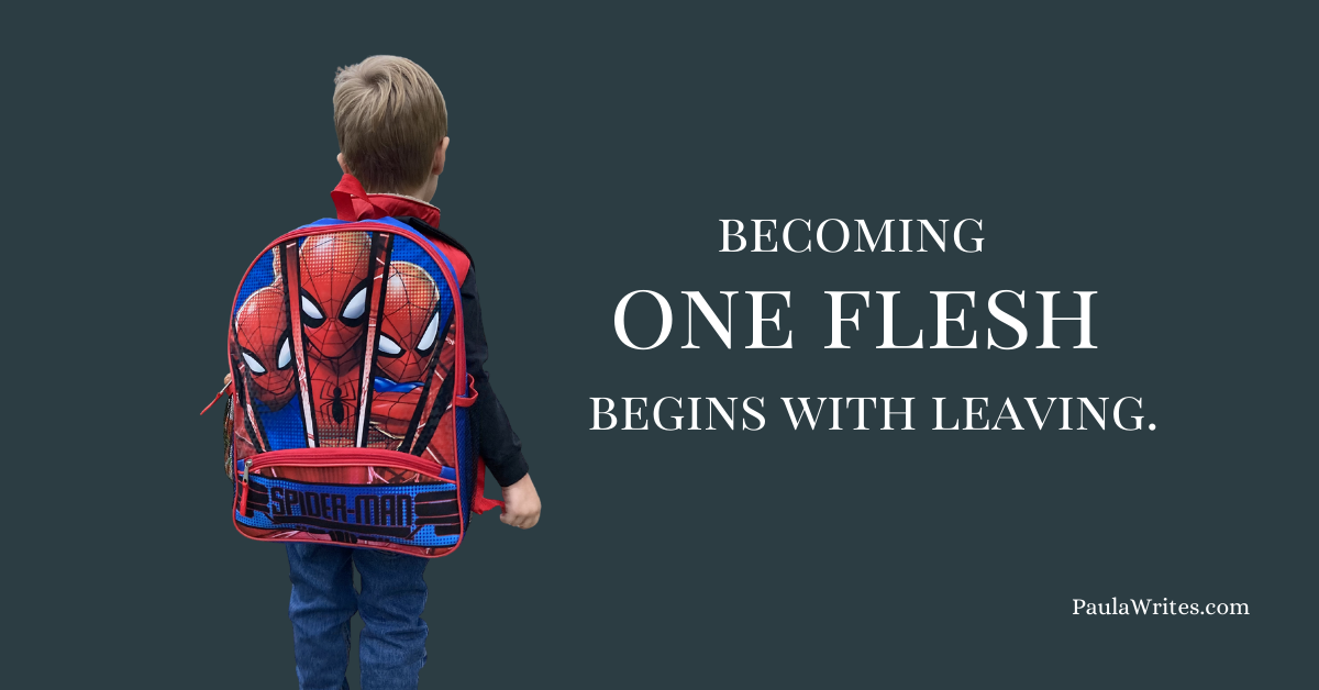 """boy walking away with backpack and quote """"becoming one flesh begins with leaving"""""""